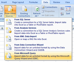 Configuring an Excel ODBC Data Source in Windows 7